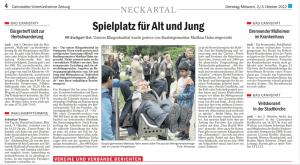 Zeitungsartikel - Spielplatz für Alt und Jung