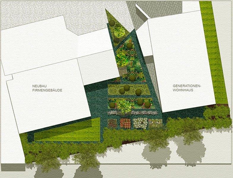 Grundriss - Hausgarten der Familie B. links Neubau des Firmengebäudes und rechts das Generationenhaus. In der Mitte die grüne Fläche