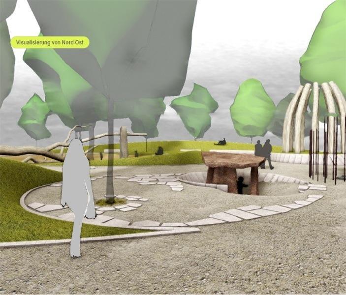 """Visualisierung des Spielplatzes """"Am Schulberg"""" - Blick von Nord-Ost"""