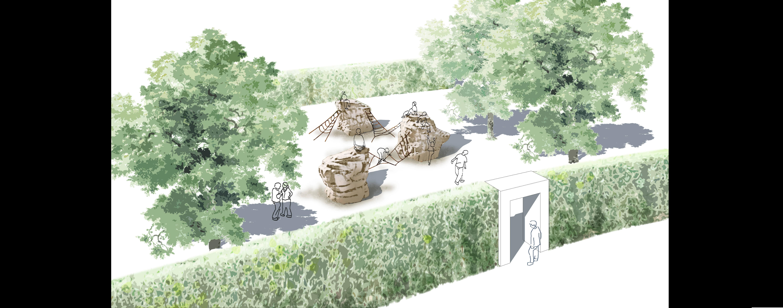 Eingang durch ein Tor zum Kinderspielplatz am Seeufer Sondern - Skizze